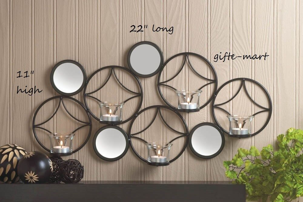 Circle mirror POP ART modern geometric artisanal METAL Wall Sconce Candle Holder eBay