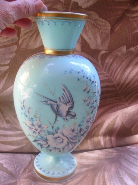 Antique Robin S Egg Blue Bristol Glass Vase W Hand Painted Bird Enamel 10 1 4 Quot Ebay