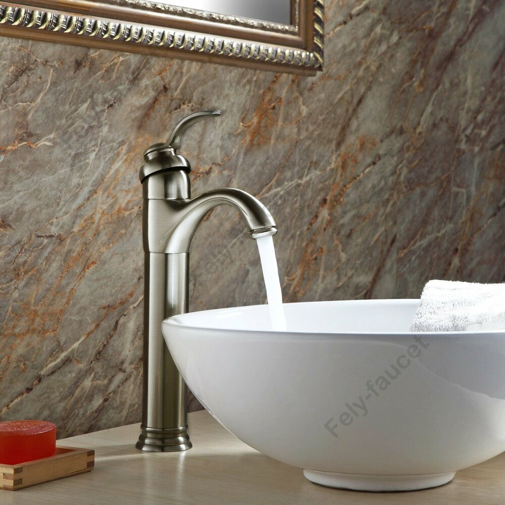 Brushed Nickel 13 Quot Tall Vessel Bathroom Sink Faucet Single