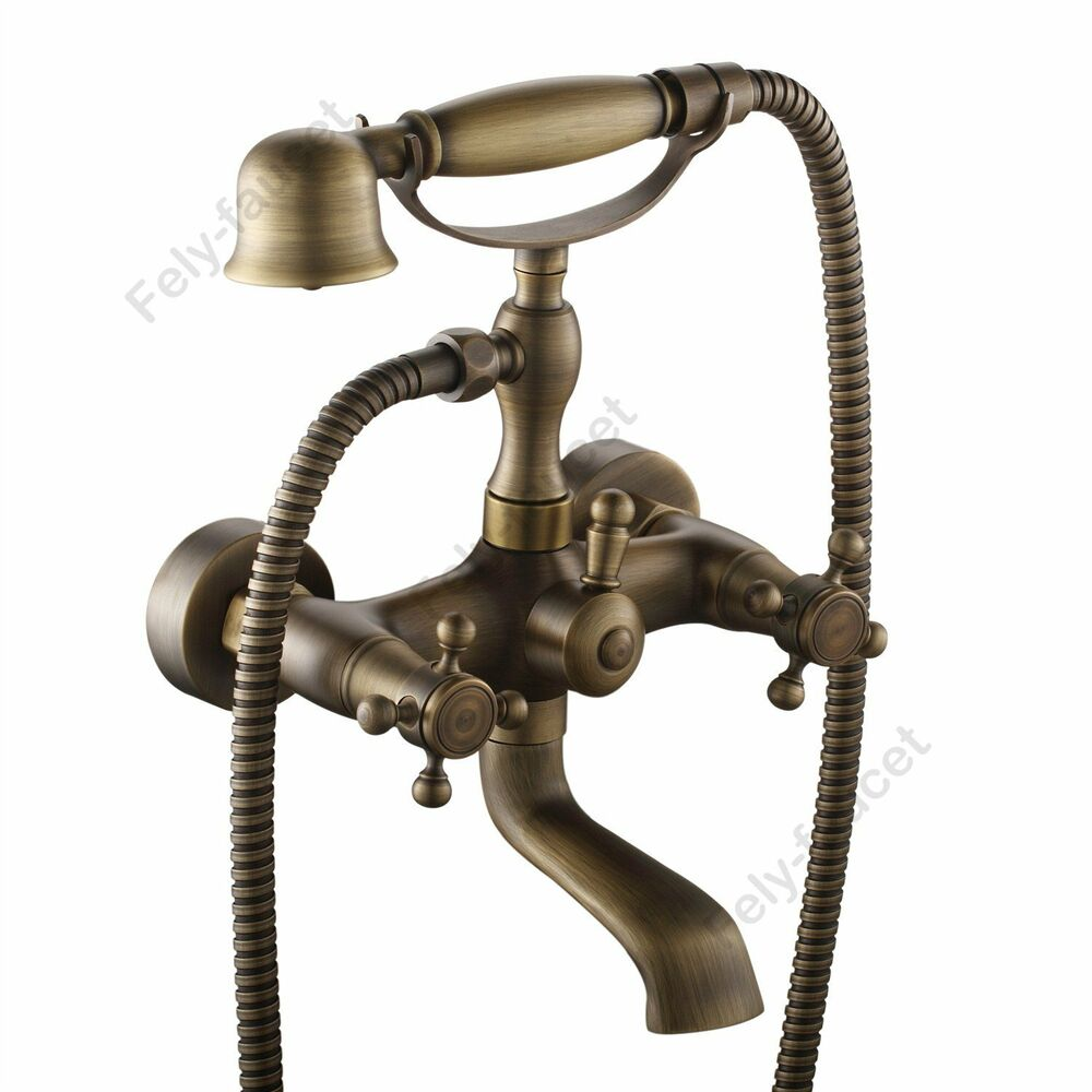 Antique Brass Victorian Vintage Clawfoot Bath Tub Faucet
