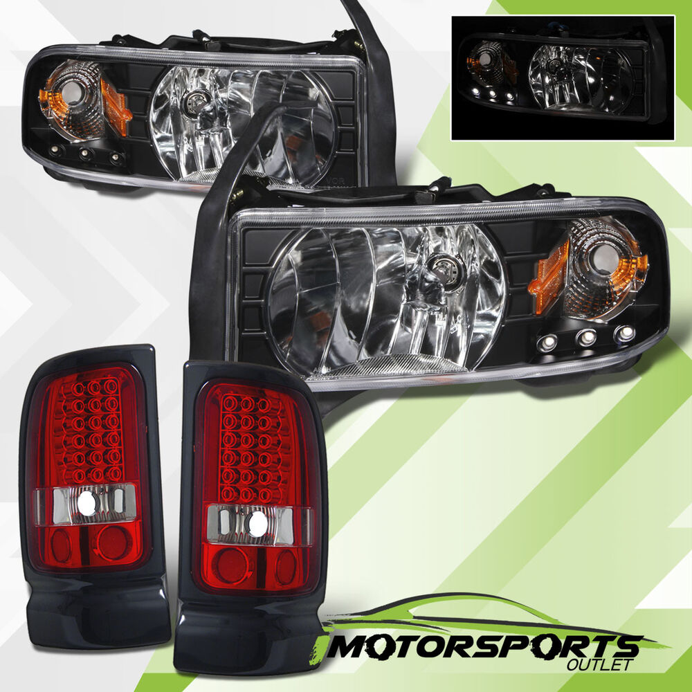 2001 dodge ram 1500 2500 3500 black led headlights w led tail lights. Black Bedroom Furniture Sets. Home Design Ideas