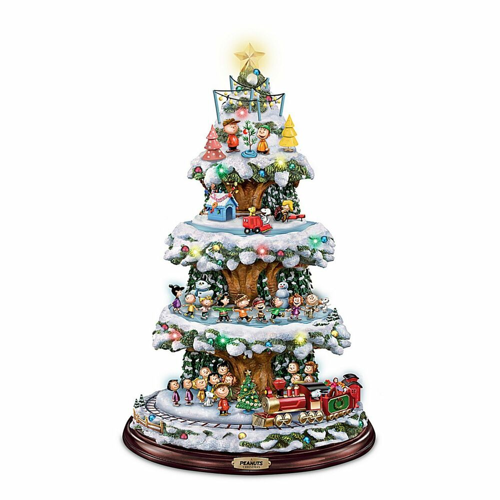 Peanuts gang moving lighted christmas tree holiday decor for Christmas decorations