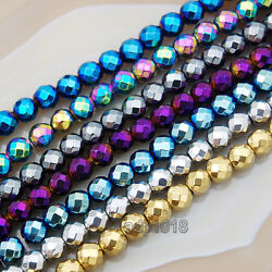 Kyпить Natural  Faceted Hematite Round Beads pick the color and sizse 16