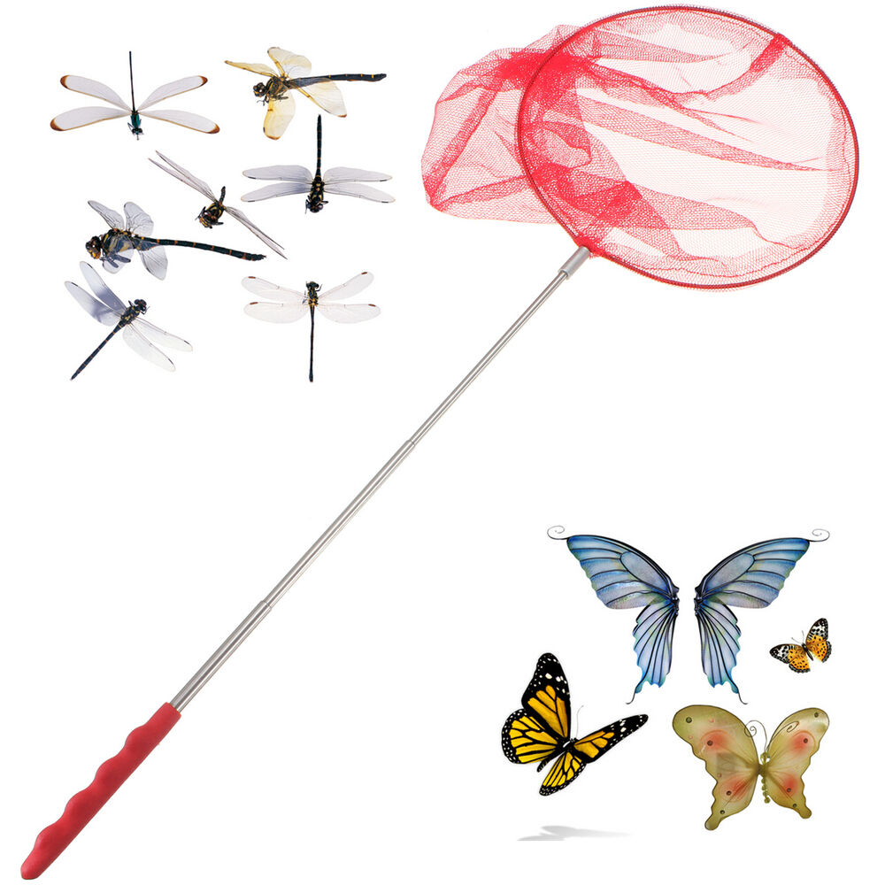 Kids extendable telescopic handle fishing bug butterfly for Kids fishing nets