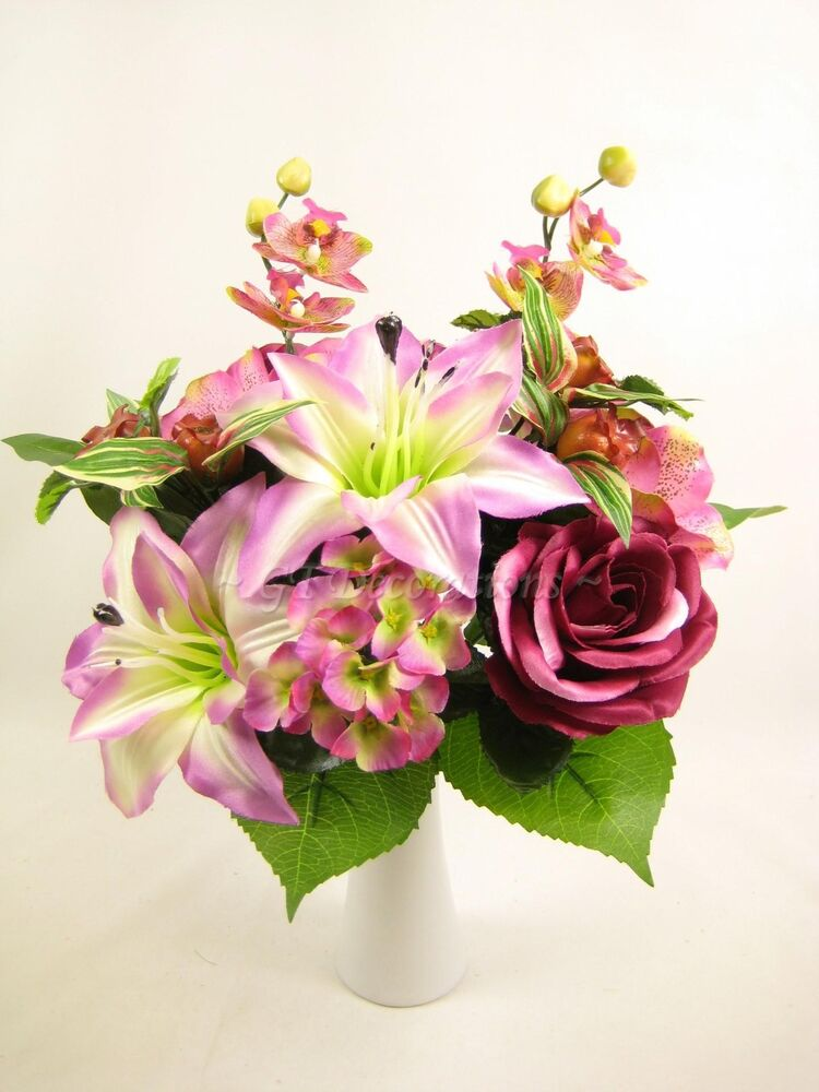Artificial Flower Decoration: Pink Artificial Silk Flowers Lily Rose Orchid Bush Mixed