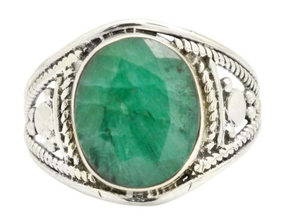 Brazilian Emerald Gemstone Ring Solid 925 Sterling Silver Jewelry IR