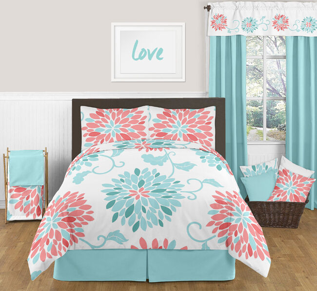 Sweet Jojo Queen Sized Turquoise Coral Floral Bed In A Bag