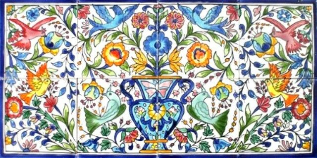 Decorative ceramic tiles mosaic panel hand painted kitchen for Art deco tile mural