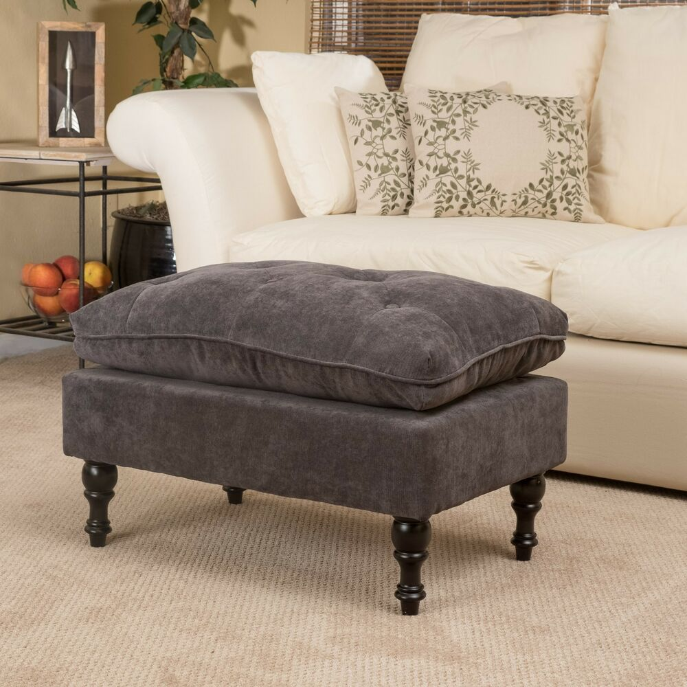 Royal Vintage Design Grey Microfiber Ottoman Footstool Ebay