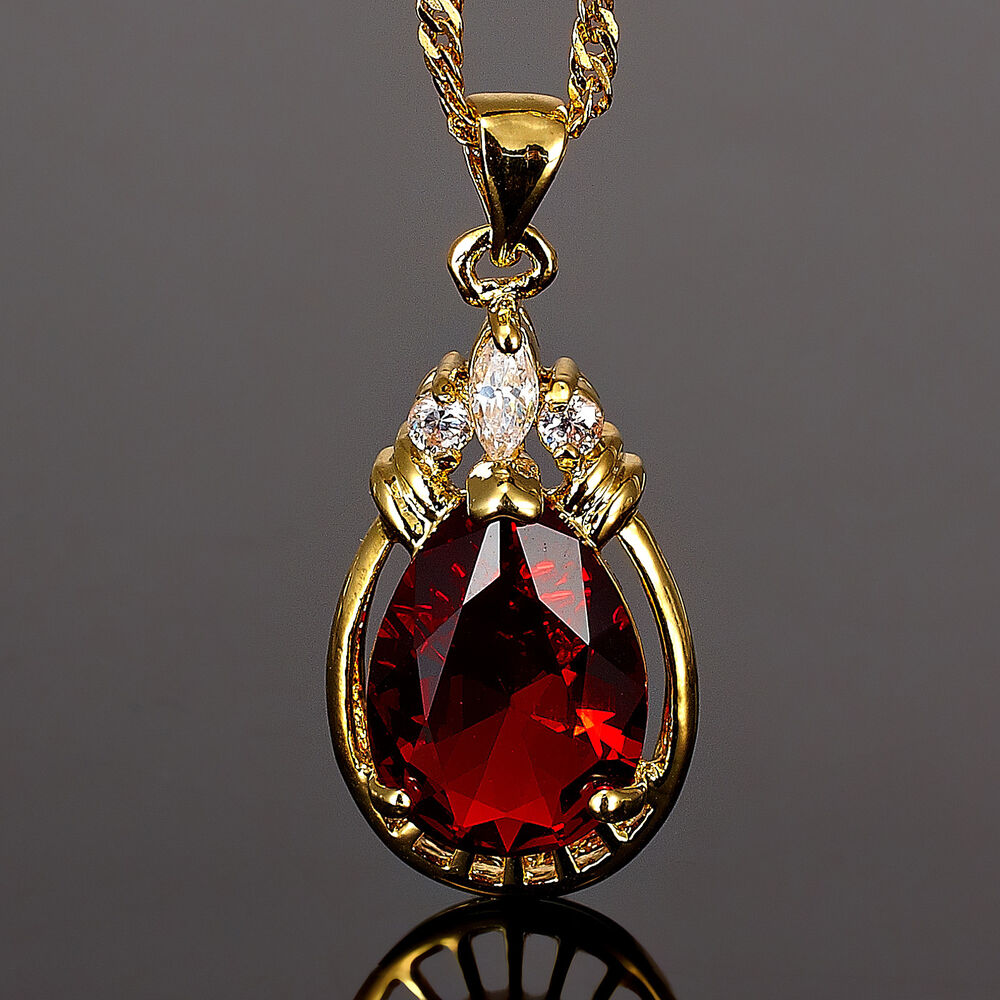 Xmas Fashion Jewelry Gift Free Necklace Pear Cut Red Ruby Yellow Gold Gp Pendant Ebay