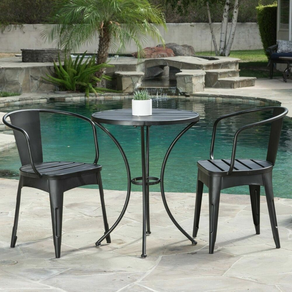 rustic modern outdoor 3 piece black cast bistro set ebay. Black Bedroom Furniture Sets. Home Design Ideas
