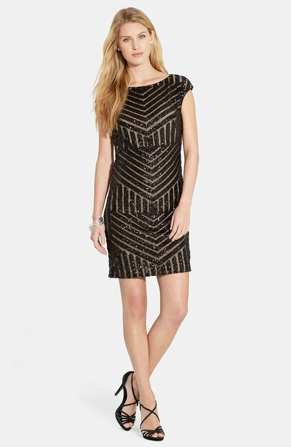 Lauren Ralph Lauren Geo Sequin Sheath Black 16 Dress New | eBay
