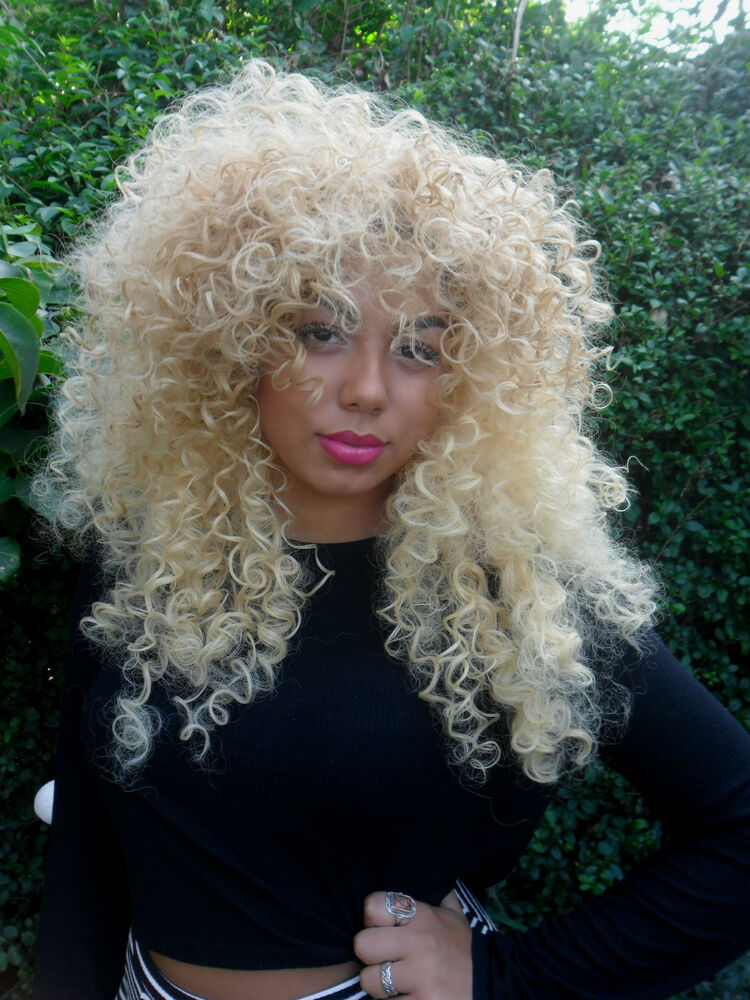 Beautiful Long Honey Blonde Big Curly Afro Full Wig With