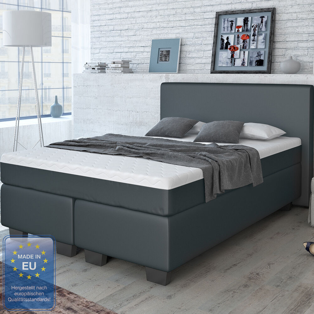 designer boxspringbett bett hotelbett doppeltbett kunstleder schwarz 140x200 cm ebay. Black Bedroom Furniture Sets. Home Design Ideas