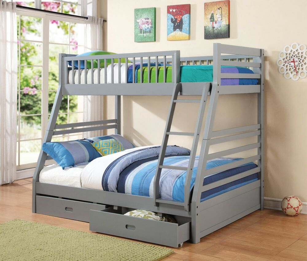 twin over full youth bunk bed storage bedroom furniture set ebay