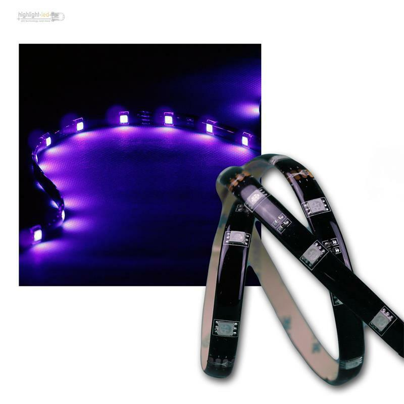 8 50 m 2m flexibler smd led streifen uv schwarzlicht ip44 lichtband 12v dc ebay. Black Bedroom Furniture Sets. Home Design Ideas