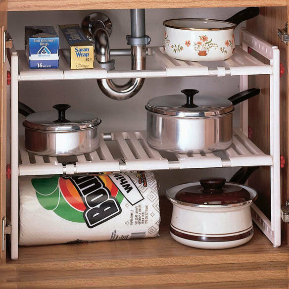 kitchen bathroom cabinet under sink adjustable shelf organizer pan