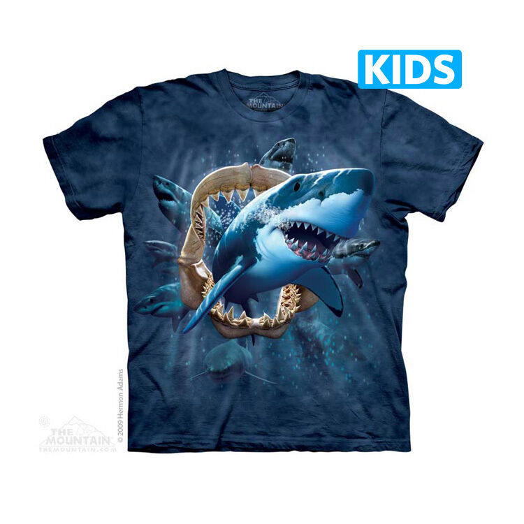 the mountain shark attack shark week great white youth kids tee t shirt s xl ebay. Black Bedroom Furniture Sets. Home Design Ideas