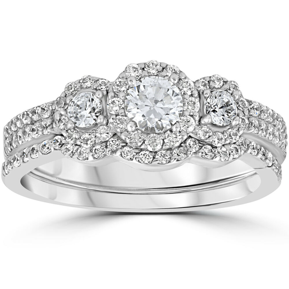 Stone Wedding Rings: 1.00Ct 3 Stone Diamond Engagement Wedding Ring Set 10K