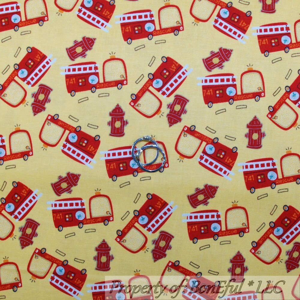 Fabric Roads For Toy Cars : Boneful fabric fq cotton quilt yellow red fire truck baby
