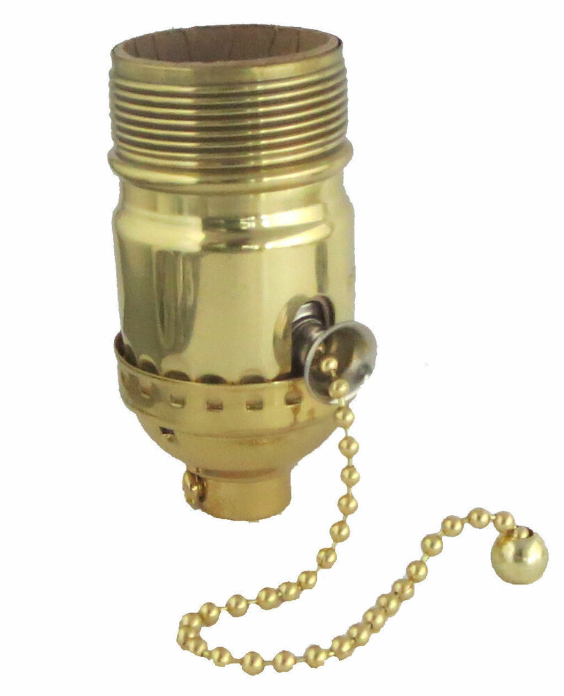 Lamp parts solid brass off on pull chain socket tr ebay