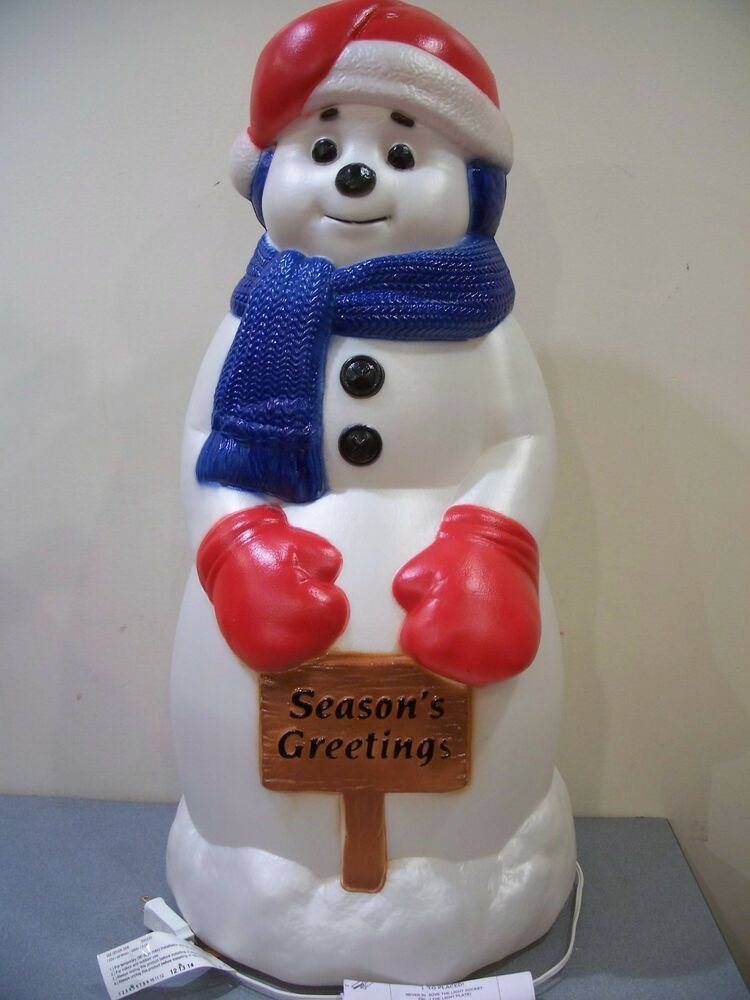 New blow mold yard light up decor snowman 31 christmas for Plastic snowman