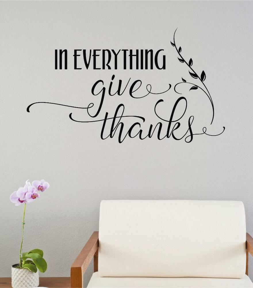 letter wall stickers in everything give thanks thanksgiving vinyl decal wall 17123