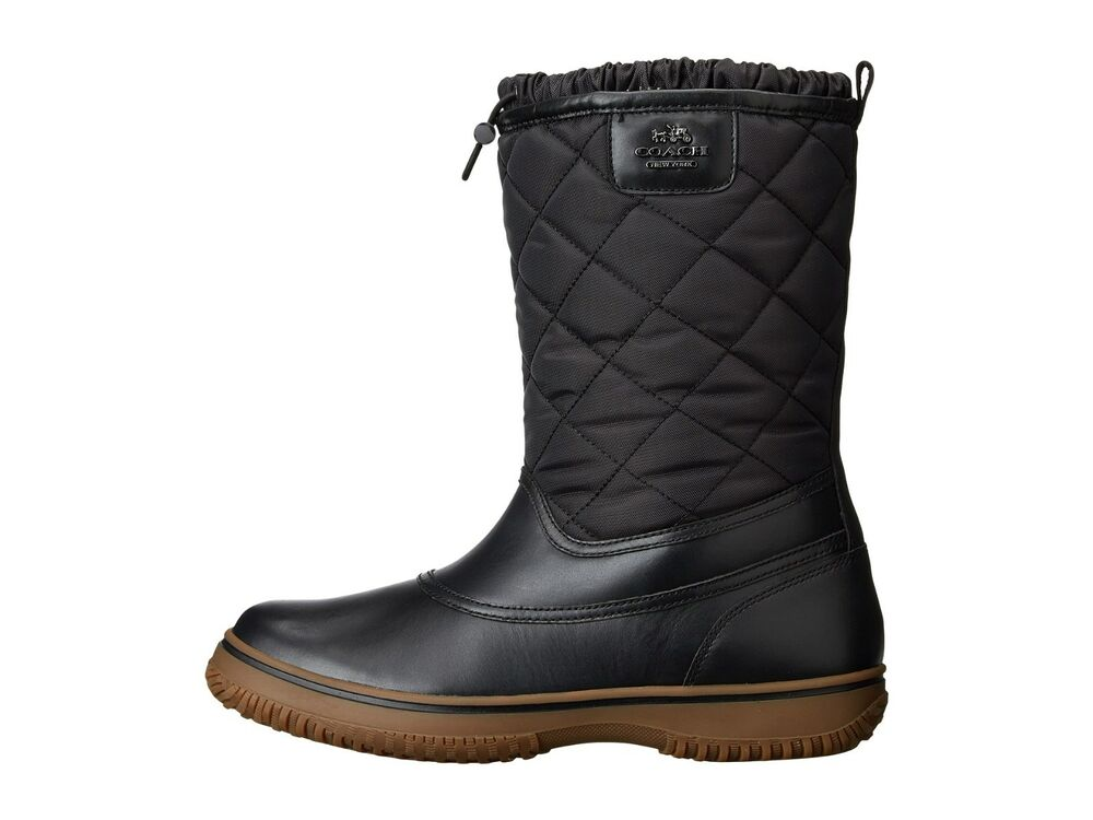 new coach samara black quilted all weather winter