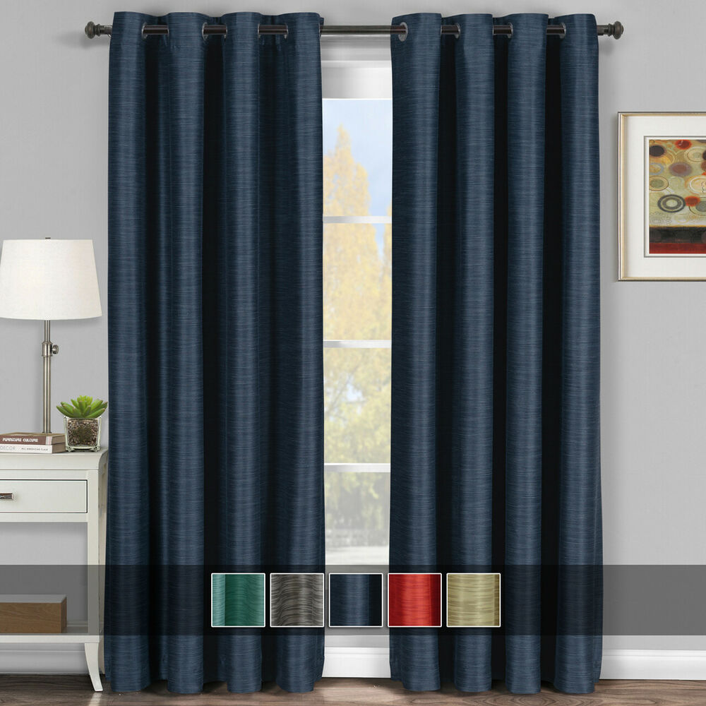 Virginia Set of 2 Blackout Weave Grommet Curtain Panels 100 Polyester ...