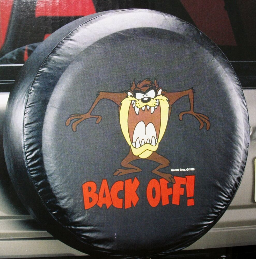 looney toon taz back off suv truck trailer wheel camper rv rear spare tire cover ebay. Black Bedroom Furniture Sets. Home Design Ideas
