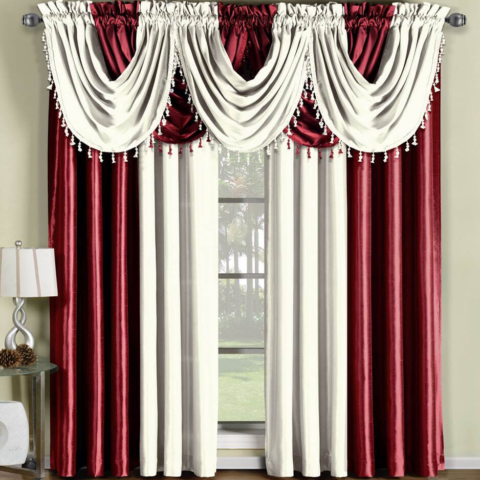 Soho Faux Silk Waterfall Curtain Panels Set Single Panels Or Valances Ebay