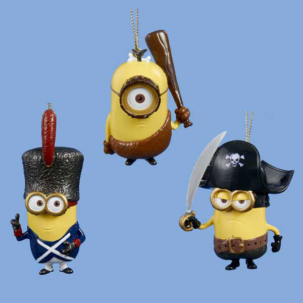 Despicable Me/Minions Set Of 3 Christmas Ornaments