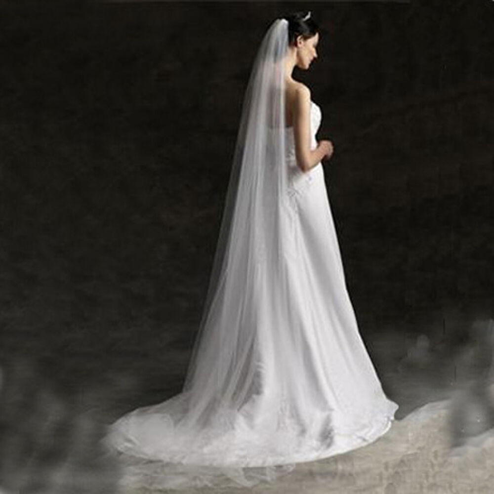 Fashion long bridal wedding single veil trailing white for Long veil wedding dresses