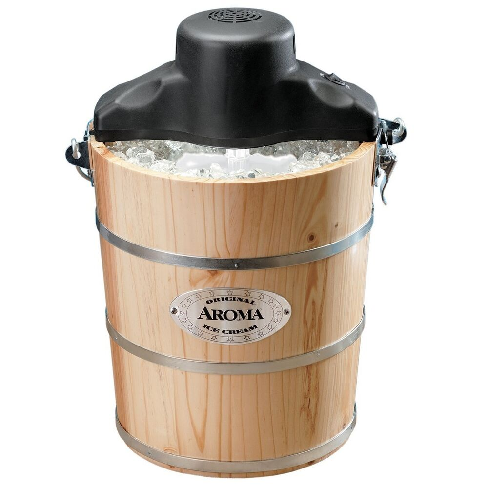 ice cream makers aroma 6 quart wood barrel traditional maker 12376