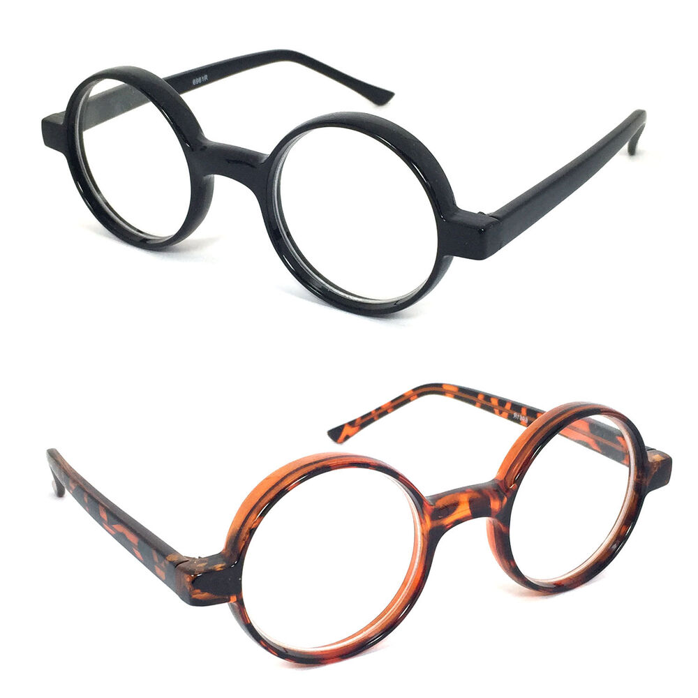 thickly rimmed oval reading glasses readers black or