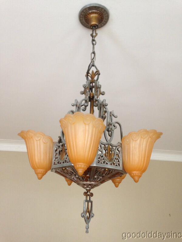 antqiue art deco slip shade chandelier lincoln lightning company ebay. Black Bedroom Furniture Sets. Home Design Ideas
