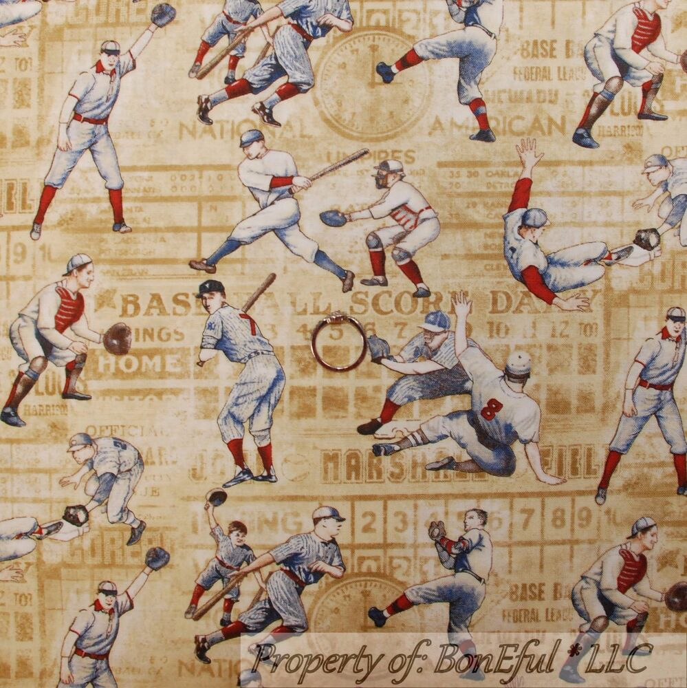 Boneful Fabric Fq Cotton Quilt Antique Mlb Baseball Bat