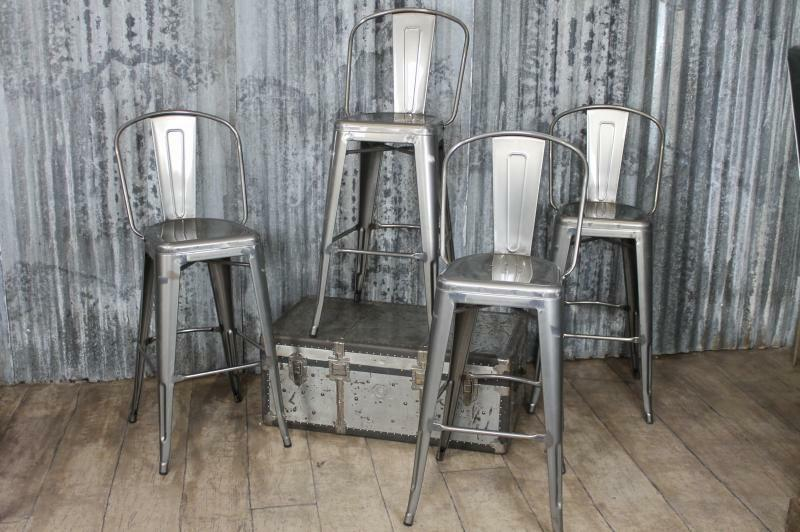 Vintage Industrial Tolix Style Gun Metal Bar Stools With