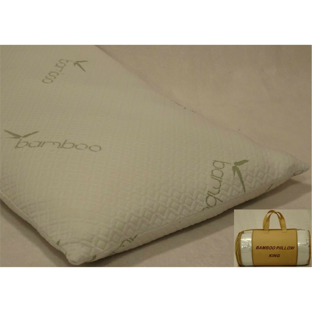 2 premium high density king size memory foam bamboo for How big are king size pillows