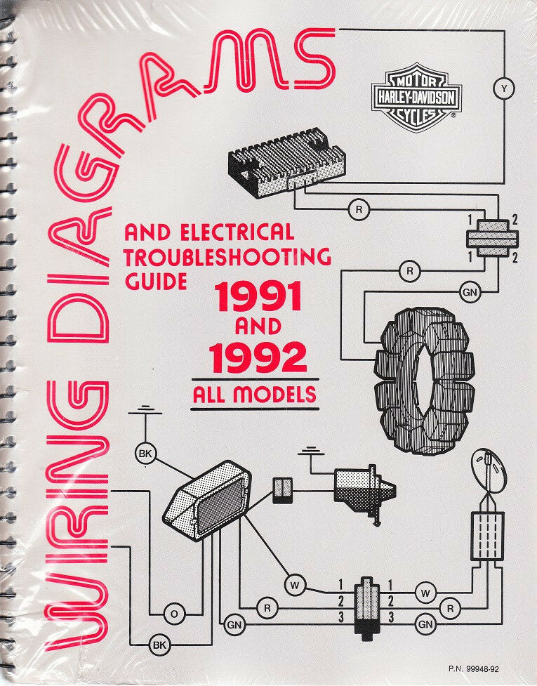 1991-1992 harley wiring diagram schematic electrical ... harley control wiring diagram #8