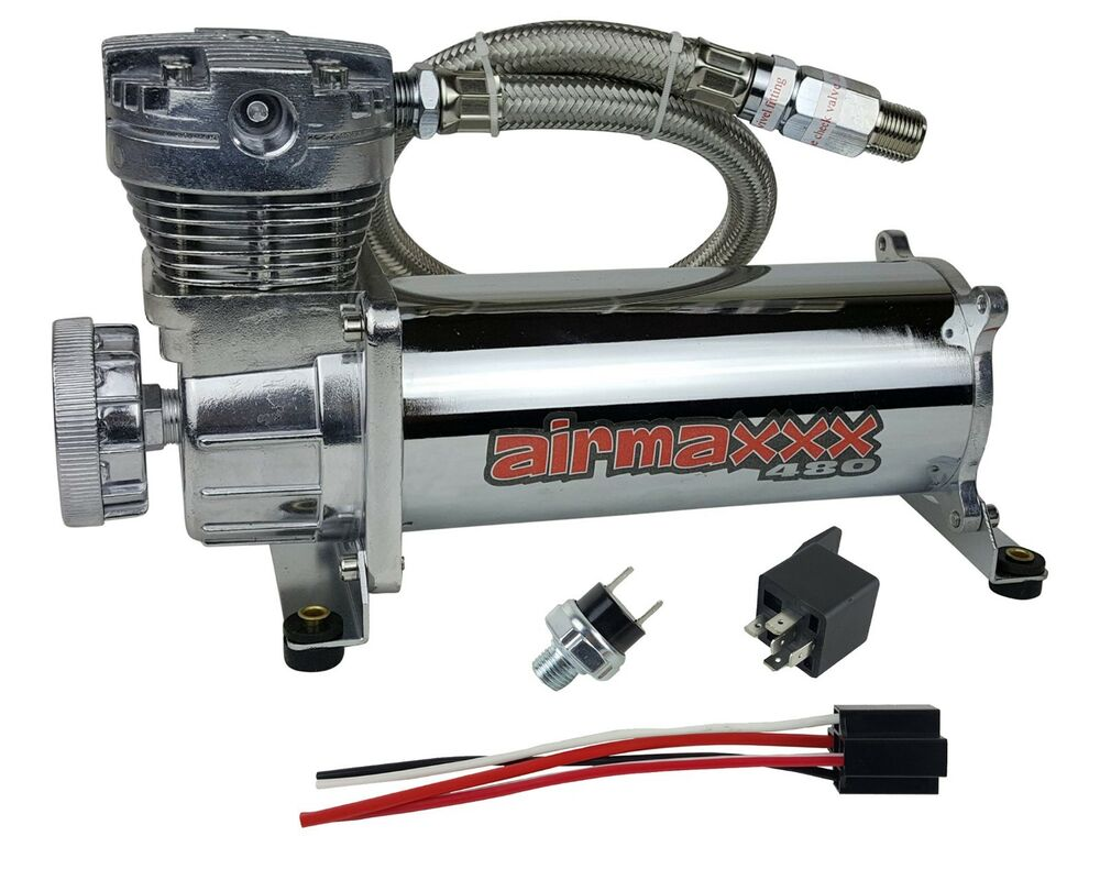 chrome air suspension compressor airmaxxx 480c 180 switch for air horn bags tank ebay. Black Bedroom Furniture Sets. Home Design Ideas
