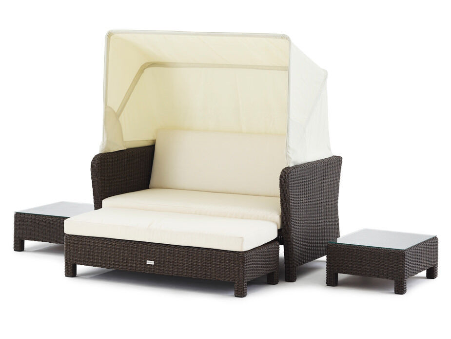 gartencouch binz lounge dark brown liegeinsel polyrattan domus ventures sofa ebay. Black Bedroom Furniture Sets. Home Design Ideas