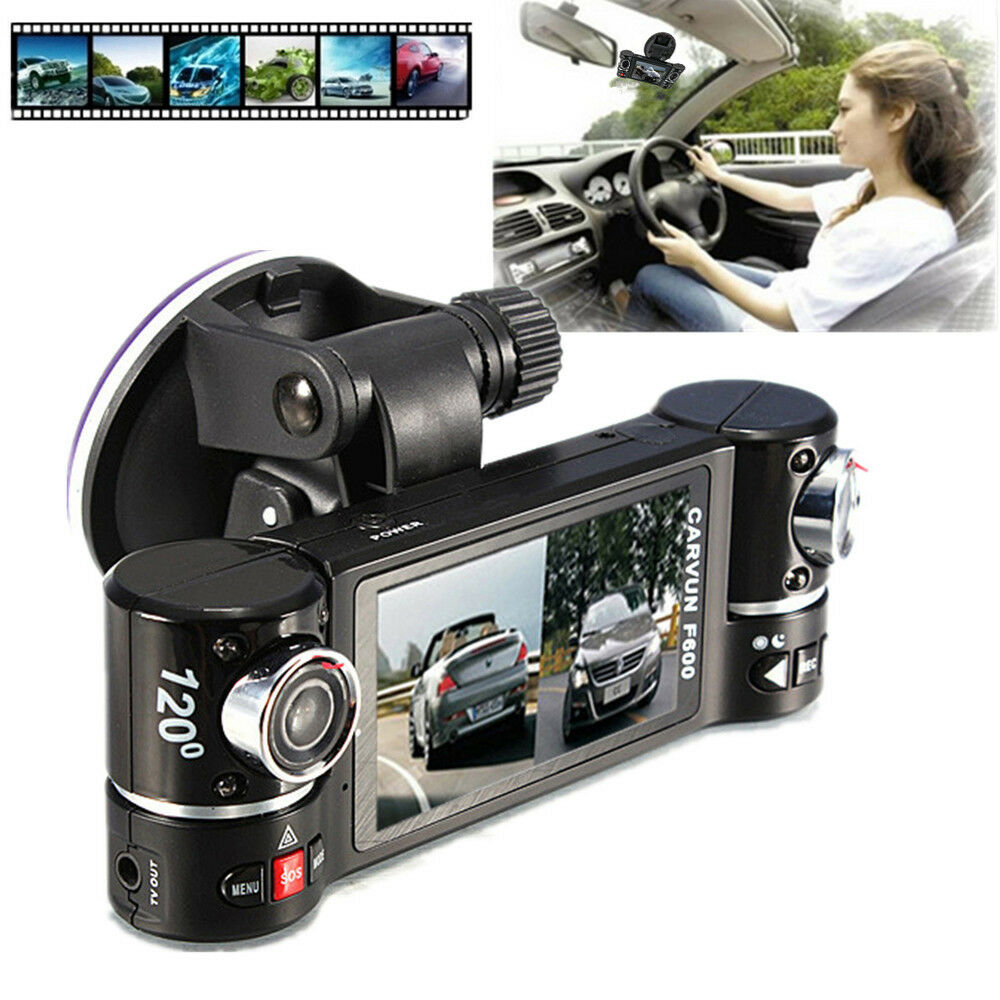 f600 dual lens car dvr dash cam camera video recorder. Black Bedroom Furniture Sets. Home Design Ideas