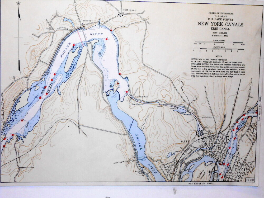 Color Map Erie Canal Troy Half Moon New York US Army Corp Of - Erie canal on map of us