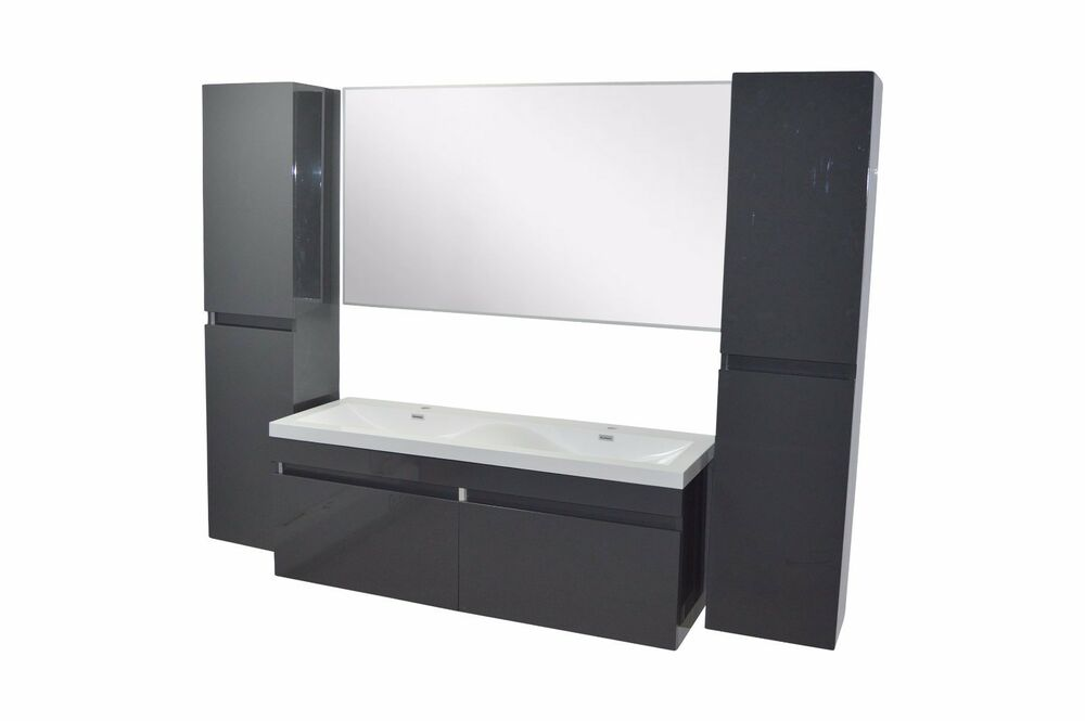 doppelwaschtisch 140cm waschbecken bad unterschrank spiegel badezimmer set ebay. Black Bedroom Furniture Sets. Home Design Ideas