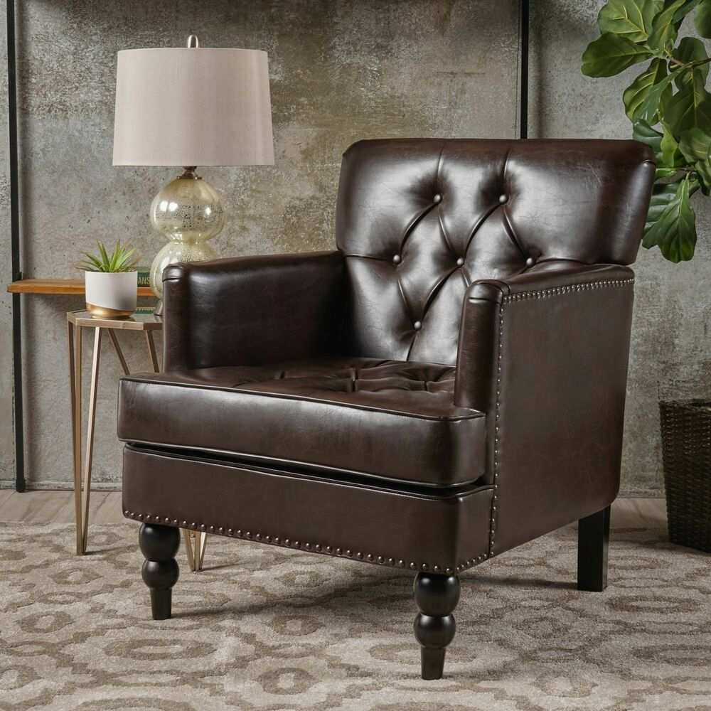 Elegant Design Brown Tufted Leather Upholstered Arm Chair