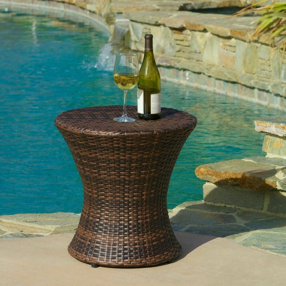 Brown Rattan Coffee Table Outdoor: Outdoor Patio Furniture Contemporary Brown PE Wicker
