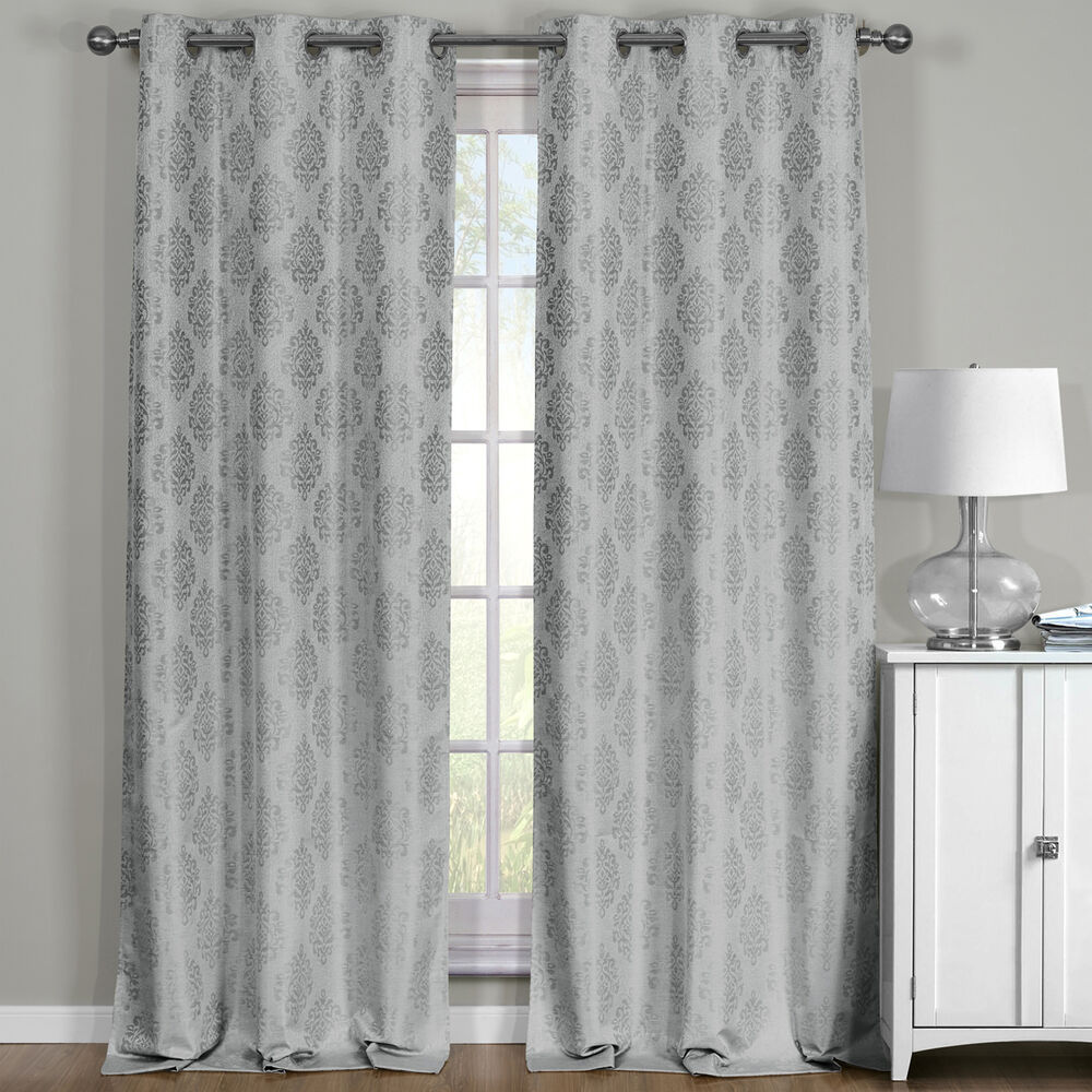 Paisley Gray Blackout Thermal Jacquard Window Curtains 76