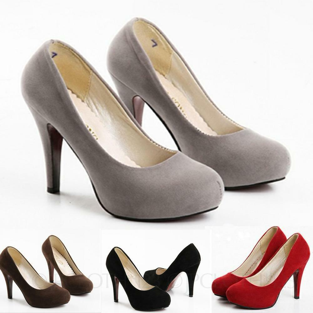 Ladies Party Wedding Office Fashion Womens Suede Pumps High Heel Shoes Size | EBay