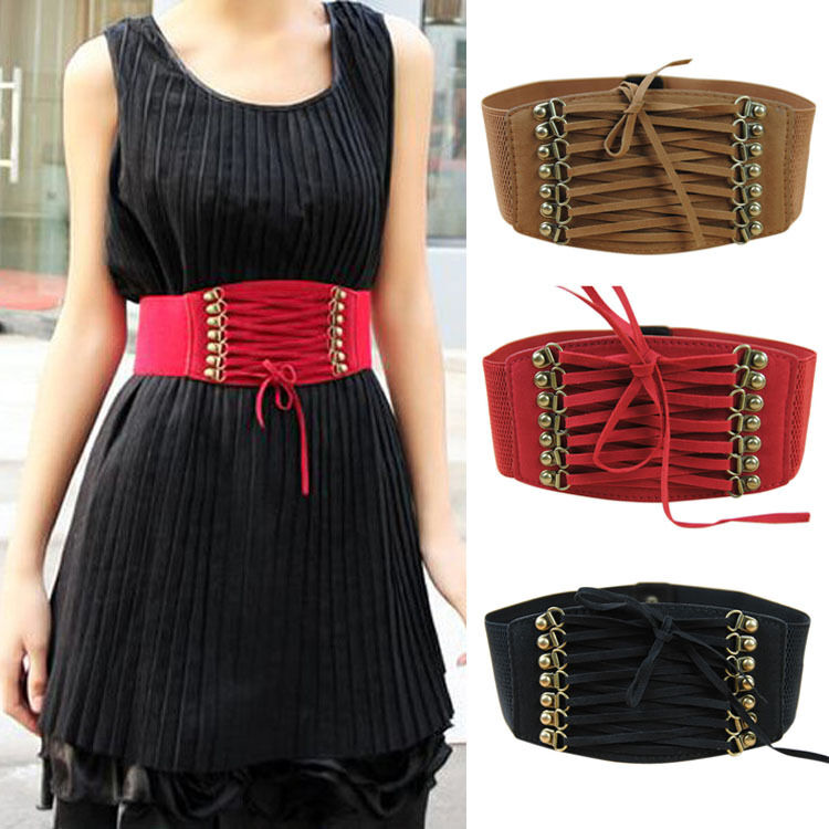 Fashion Women Strap Buckle Cinch Corset Stretch Skinny ...